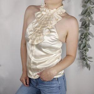 3.1 PHILLP LIM Silk halter ruffle neck ivory top